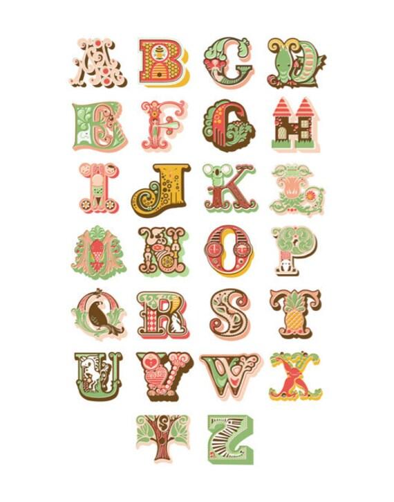 "11X14"" alphabet giclee print. pink, coral & sage."