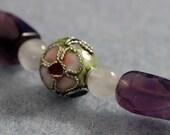 AMETHYST PATTERN Bracelet With Cloisonné Balls, Faceted Amethyst, Rose Quartz & Sterling Silver   -On Sale-