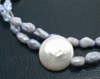 LA LUNA Bracelet Of Freshwater & Coin Pearls, Swarovski Crystals, Sterling Silver, Twisted Double-Stranded