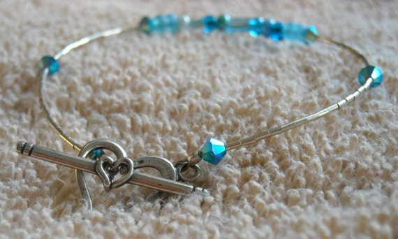 COOL WATERS Bracelet With Sterling Silver Heishi And Heart Toggle, Beaded With Czech Glass And Swarovski Crystals   -On Sale-