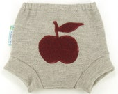 Recycled Wool Soaker Diaper Cover - RETRO APPLE - Medium 9-18M