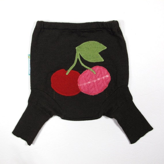 Wool Shorties Diaper Cover - CHERRY COLA - Medium 9-18M