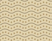Sara Morgan for Blue Hill Fabrics, Old Glory 2, Star Stripe Border in Tan 7627.8 - 1/2 Yard
