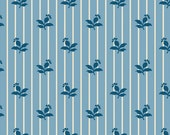 Sara Morgan for Blue Hill Fabrics, Saras Stash, Flowers and Stripes in Blue 7410.7 - 1/2 Yard