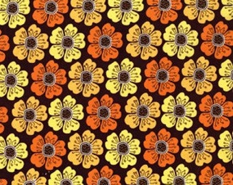 Sandi Henderson for Michael Miller, Meadowsweet, Poppy  Parade in Brown (SH4236) - 1 Yard