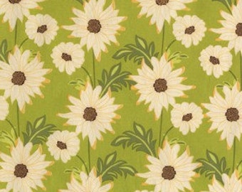 Sandi Henderson for Michael Miller, Meadowsweet, Daisy Path in Celery (SH4238) - 1 Yard