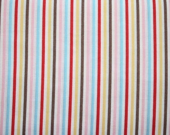 Japanese, Lecien, Color Basics, Stripe Red Mix (4520)- 1 Yard - Clearance