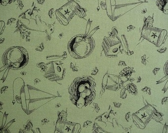 Michael Miller, Bunny Toile in Sage - 1/2 Yard (Last One)