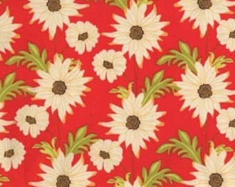 Sandi Henderson for Michael Miller, Meadowsweet, Daisy Path in Pomegranate (SH4238) - 1 Yard