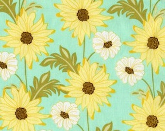 Sandi Henderson for Michael Miller, Meadowsweet 2, Daisy Path in Robin's Egg (SH4238) - 1 Yard