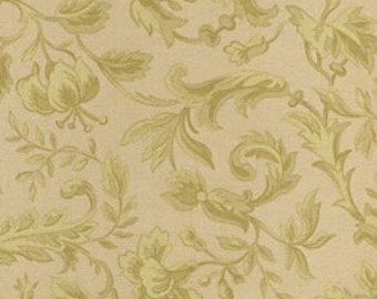 Robyn Pandolph, Chateaux Rococo, Floral Scroll in Vanilla  (D1684-305) - 1 Yard Clearance