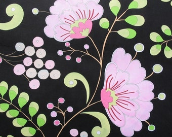Dena Designs-Snow Flower, Snow Berry in Black (DF18)- 1 Yard Clearance
