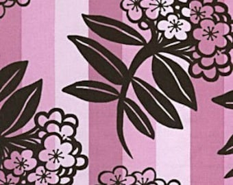 Anna Maria Horner, Chocolate Lollipop, Large Floral Stripe in Pink - 1 Yard Clearance