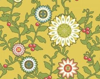 Emily Taylor for Riley Blake, Felicity, Flowers and Berries in Gold C5001 - 1 Yard -