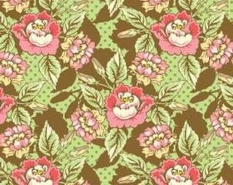 Jody Taylor for Riley Blake, Nantucket Summer, Flowers in Brown C3501 - 1 Yard Clearance