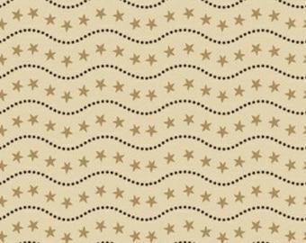 Sara Morgan for Blue Hill Fabrics, Old Glory 2, Star Stripe Border in Tan 7627.8 - 1 Yard Clearance
