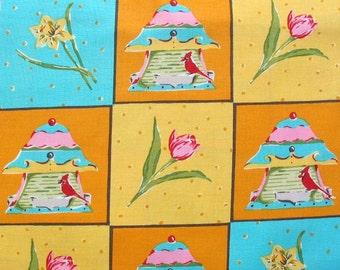Felicity Miller, Garden, Birdhouse Patchwork in Orange and Teal - 1 Yard Clearance