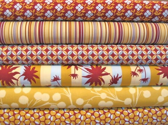 Half-Yard Bundle of 6 in Lichen and Eggplant - Chestnut Hill Collection by Joel Dewberry
