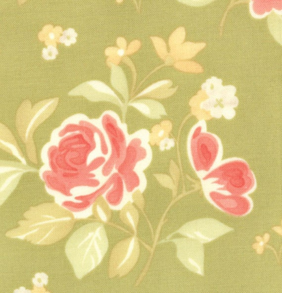 Fig Tree for Moda, Strawberry Fields, Summer Bouquet in Grass 20162.14 - 1/2 Yard