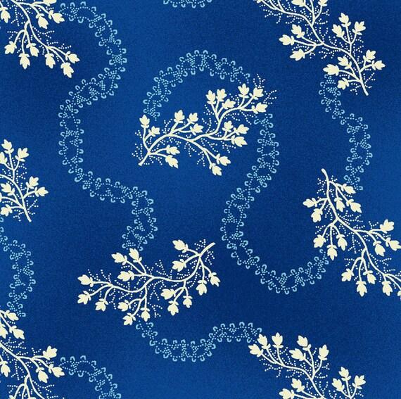 Sara Morgan for Blue Hill Fabrics, Saras Stash, Floral Vine in Blue 7412.7 - 1/2 Yard