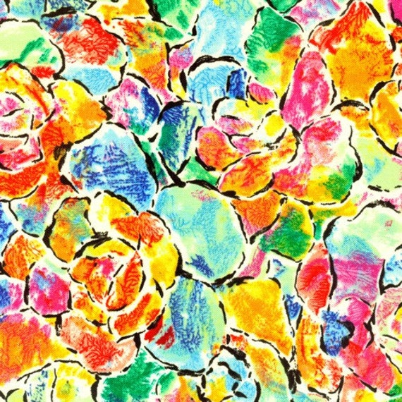 Paintbrush Studio, Abstractions, Outlined Floral (6831) - 1/2 Yard Clearance (Last One)