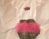 Onesie-Diaper Cover set with Leopard Print 6-9 mo.