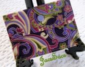 Purple Swirly Floral... Polka Dots... Mini Wallet/Business Card Case