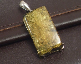 Rectangular Amber and Sterling Silver Pendant
