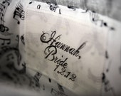 personalize your clutches... set of five silk name/message tags for bridesmaids, bridal and flower girl clutches