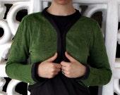 frame cardigan SALE 40% OFF - verbena green/dark grey - made to order - textured linen/metal