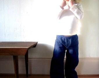 wide leg trousers child -  2 thru 5 years - cobalt blue - unisex boy/girl pants - modern