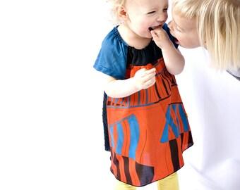 Kirsten Dress - Baby/Toddler - Bright Graphic Red/Black/Blue - Modern Frock - SALE