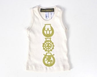 horse brass organic tank top - baby - natural/pea - summer tees - eco - SALE