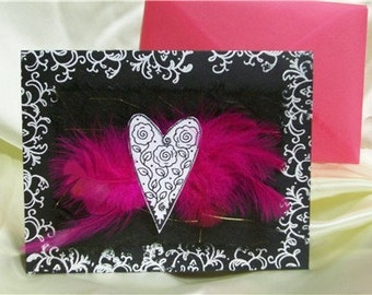 Feather Heart Greeting  Card