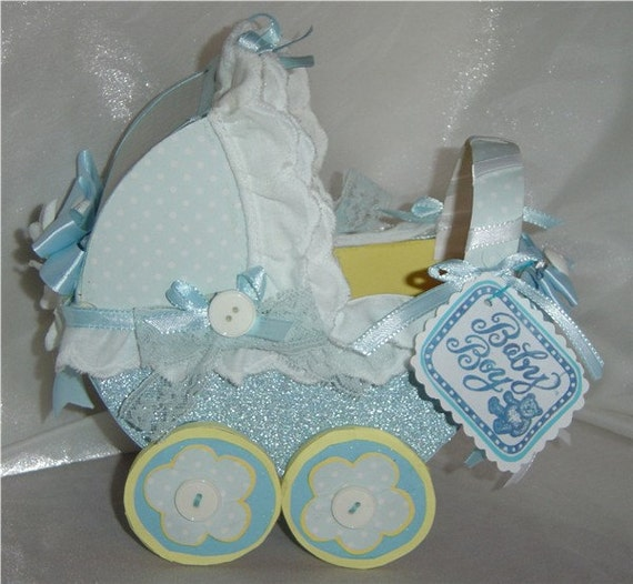 Items similar to mini baby boy carriage centerpiece decor for Baby carriage decoration