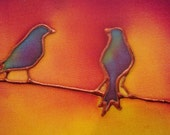 birds on a wire hand painted silk card