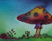 misty mushroom hand painted silk card