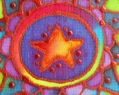 star mandala hand painted silk card