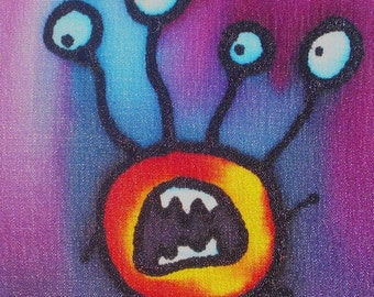 freaked out monster hand painted silk card