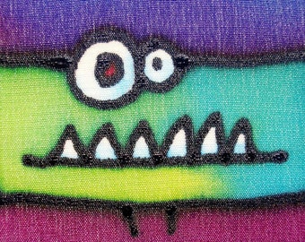grumpy monster hand painted silk card