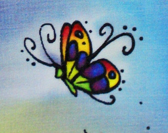 butterfly sunset hand painted silk - 5x7 painting