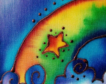 rainbow hand painted silk greeting card