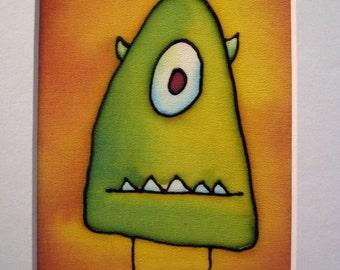 little monster hand painted silk - 5x7 original painting