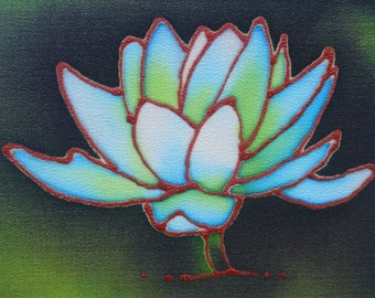blue and green waterlily hand painted silk greeting card
