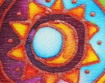 Rainbow Moon Mandala Hand Painted Silk Card