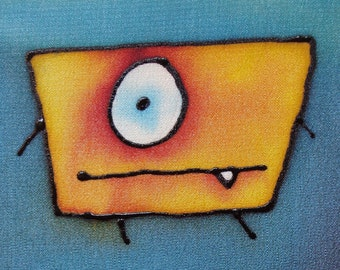 boxy little monster hand painted silk - 5x7 painting