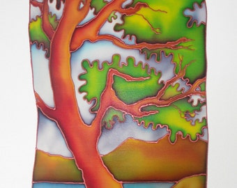 Arbutus Over Howe Sound - hand painted silk