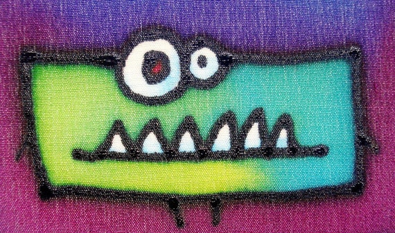 grumpy monster hand painted silk card
