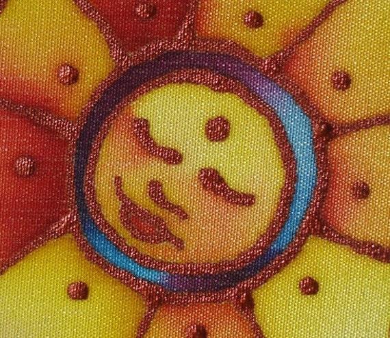 peaceful sun hand painted silk card