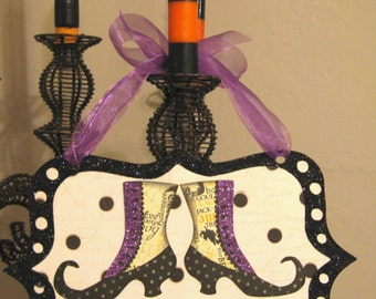 Wall Sign, Halloween Glitter Spooktacular  witchy shoe door/wall hanging sign by STACY MARIE